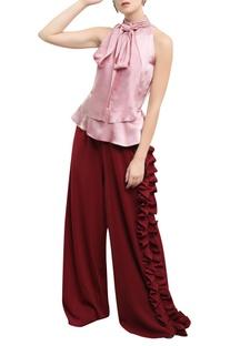 Peplum Style Wide Legged Jumpsuit