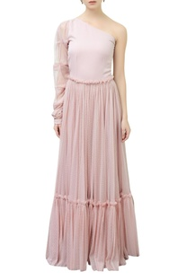 One Shoulder Tiered Gown