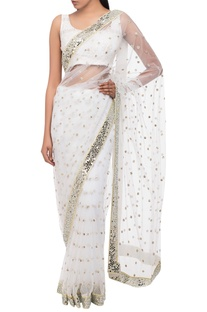 Mirror Embroidered Saree With Blouse