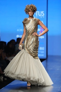 Metallic embrodiered fish tail gown