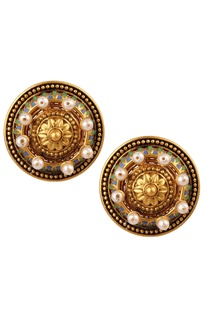 Amrapali Pearl Embedded Stud Earrings