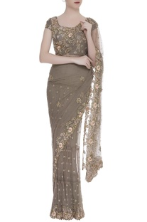 Applique embroidered sari with blouse