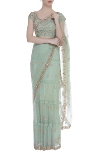 Gota embroidered frill sari with blouse