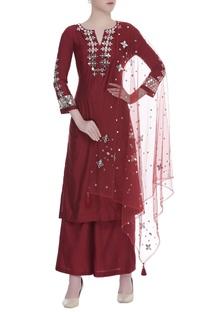 Mirror embroidered straight fit kurta set