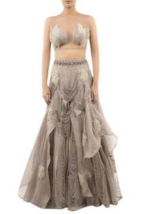 Layered Lehenga With Bead Embroidered Blouse