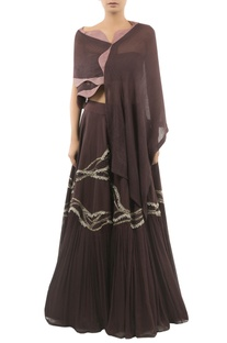 Lehenga With Pintucked Cape & Bustier