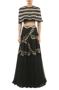Embroidered Lehenga With Bustier & Cape