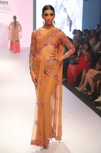 Embroidered pre draped sari with blouse