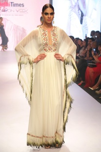 Embroidered kaftan dress with fringe detail
