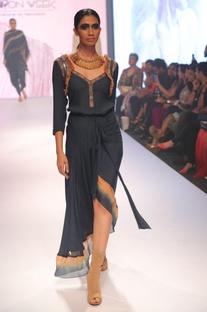 Embroidered asymmetric wrap dress