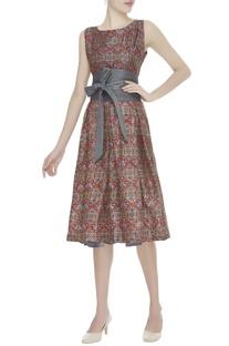 Block printed dress with belt