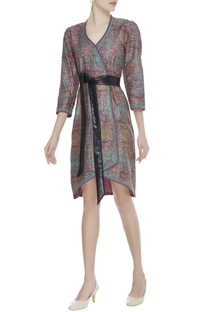 Block printed wrap dress with belt