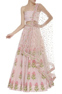Printed lehenga with unstitched blouse & dupatta