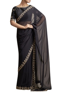 Sari with Metallic Embroidery & blouse