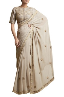 Sari with Metallic Embroidery & blouse