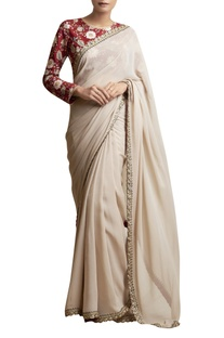 Clay White Sari with Embroidered Blouse