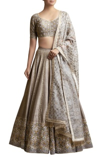 Embroidered Lehenga Set with Floral Pattern Dupatta