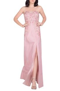 Embellished high slit gown