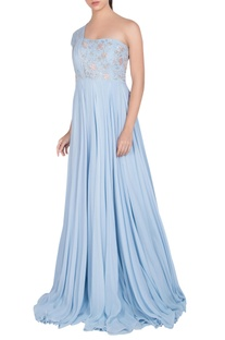Embellished gown with back drape