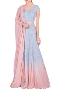 Embellished lehenga with blouse and dupatta