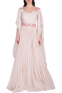 Embroidered Gown with Draped Sleeves