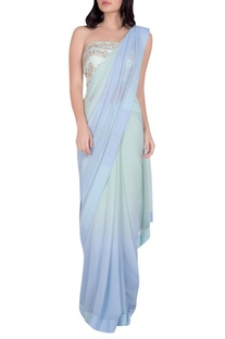 Embroidered bustier Blouse with Saree