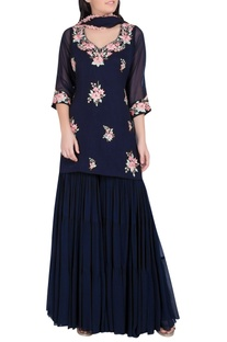 Floral Embroidered Sharara Kurta Set