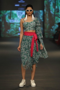Printed one shoulder top with draped skirt & belt