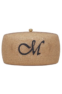 Crystal embellished clutch with monogram center