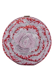 Crystal embellished circular clutch