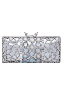 Crystal and stone embellished rectangular clutch