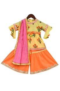 Flower Print Kurta with Sharara Set