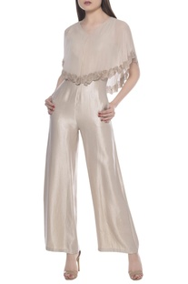 Feather cape jumpsuit