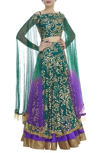 Sequin Embroidered Cold Shoulder Blouse With Lehenga