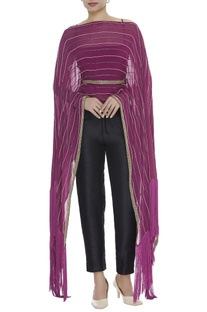 Cutdana Embroidered Asymmetric Cape