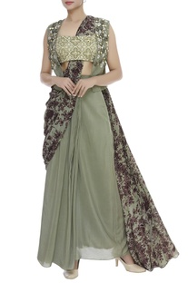 Pre Draped Saree With Bustier & Jacket