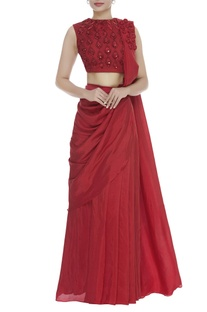 Pre Draped Saree With Embroidered Blouse