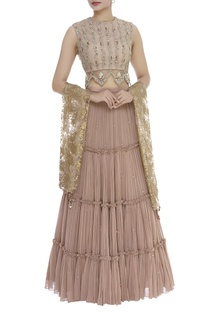 Embroidered Cutwork Blouse With Lehenga & Dupatta