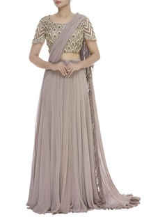 Pre Draped Lehenga Saree With Embroidered Blouse