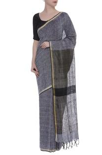 Woven linen Sari with zari border