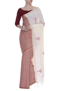 Origami Rose motif Woven linen Sari
