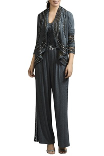 Mirror embroidered jumpsuit & cape