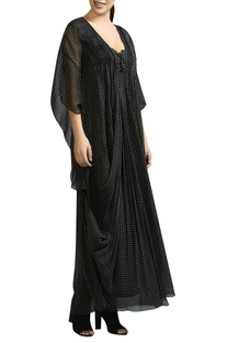 Polka dot cowl draped kaftan dress