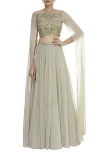 lehenga with cape sleeve embroidered blouse