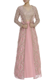 Mirroe embroidered blouse & cape with lehenga