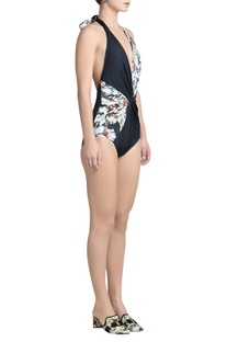 Printed halter neck swimsuit