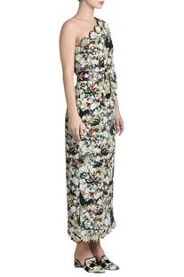 Printed one shoulder kaftan dress