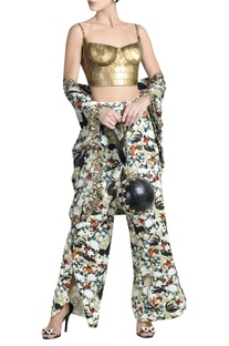 Skeinwork bustier with printed cape & pants