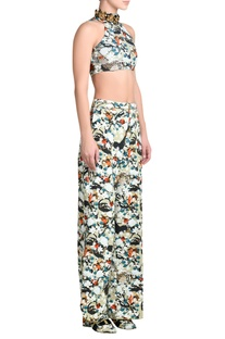 High neck embroidered top with flared pants