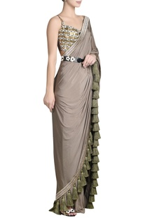 Embroidered sari with tassel border & bustier blouse